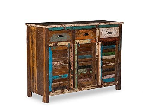 Woodkings® Sideboard Wakefield 3tür, recyceltes Massivholz antik, Anrichte Vintage, Design Kommode 3 Schub, Exclusiv, günstig,120 cm