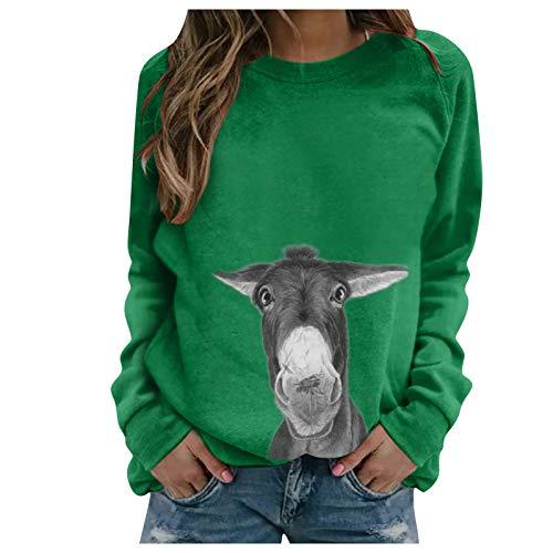 Masrin Mask Frauen Pullover Damen Casual Animal Print Sweatshirt O-Ausschnitt Langarm Patchwork Shirt Tops Bluse(XL,Grün)