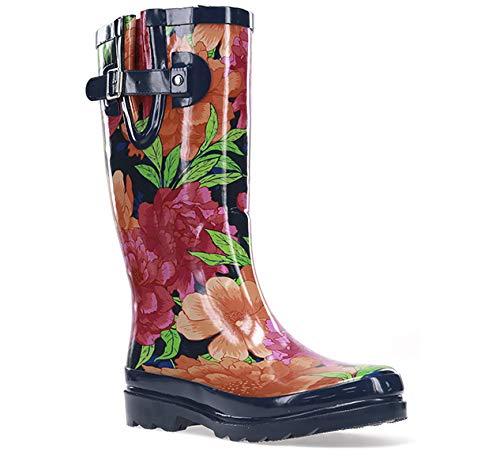 Western Chief Women's Printed Tall Rain Boot Shoe, Bold Blossom