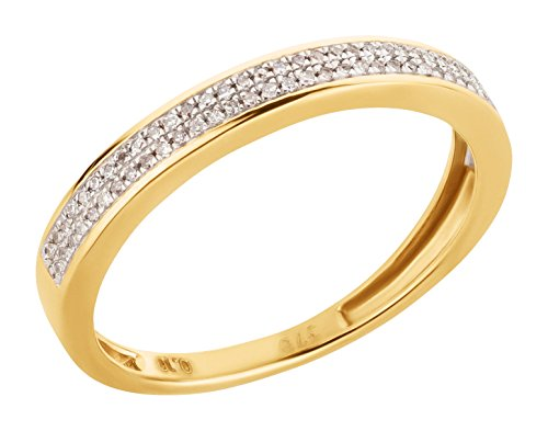 Ardeo Aurum Damenring aus 375 Gold Gelbgold mit 0,1 ct Diamant Brillant Memory-Ring Eternity Verlobungsring