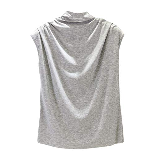 Vrouwen Coltrui Mouwloos Katoen Top Tee Shirt - Dames Casual Effen Kleur Tuniek Tank