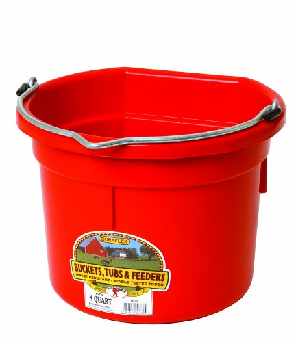 Miller Manufacturing P8FBRED Flat Back Bucket for Dogs and Horses, 8-Quart, Red