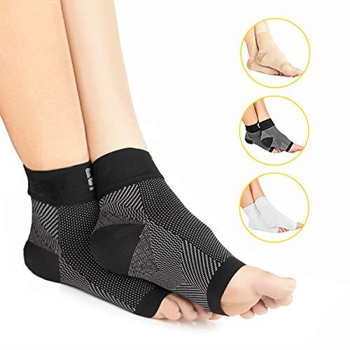 Premium Kompressionssocken lindern Fersensporn, Plantarfasciitis und Fuß Schmerzen - Fersensporn Bandagen - Fersensporn Socken (2 Paar, EU 41 – 47, Schwarz)