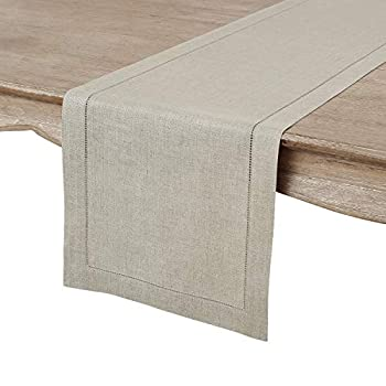 Solino Home 100% Pure Linen Hemstitch Table Runner - 14 x 60 Inch Handcrafted from European Flax Machine Washable Classic Hemstitch - Natural
