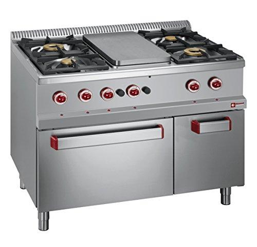 Modular cucina a gas 4fuochi, Piano cottura, Gas Forno GN 2/1, montaggio a incasso Gast Lando