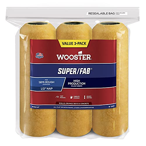 Wooster Brush R740-9 Super/Fab Roller, 1/2-Inch Nap, 3-Pack, 9-Inch