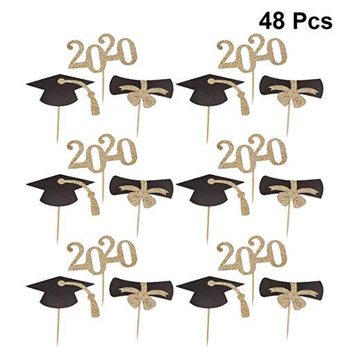 Amosfun Abschlussfeier Cupcake Toppers Kreative Glitzer 2020 Graduate Doktorhut Tortendekoration Papier Kuchen Zahnstocher für 2020 Abschluss Party Supplies 48 Stück (Golden)