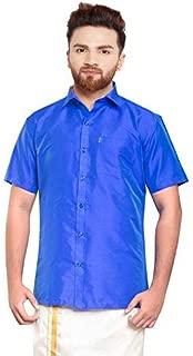 SJS-Men's Half Sleeve Solid Art Silk Shirt (Royal Blue, 36)