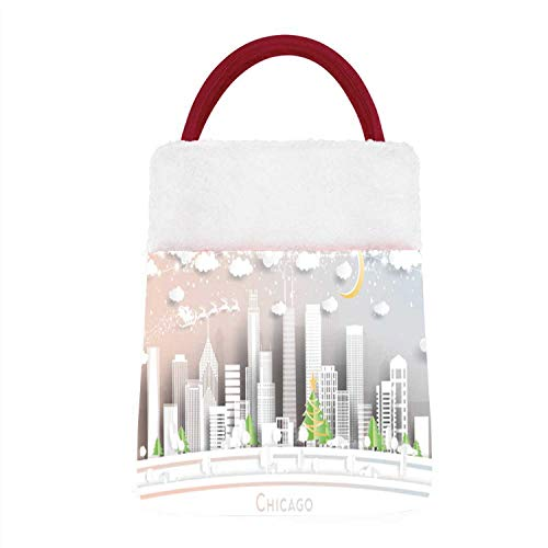 Hitecera - Illinois USA City in Paper Cut Style with Snowflakes,PChristmas Gift Bags for Christmas Holiday Party Moon and Neon Garland.- - - Illinois