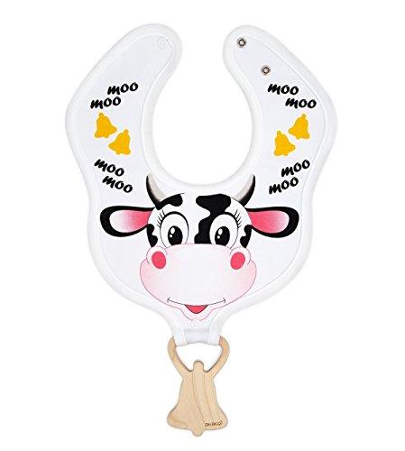 DELEKO koe & bel slabbetjes van katoen met een bijtring van esdoornhout handgemaakt, natuurlijk, ecologisch, ideaal voor tanden kind.
