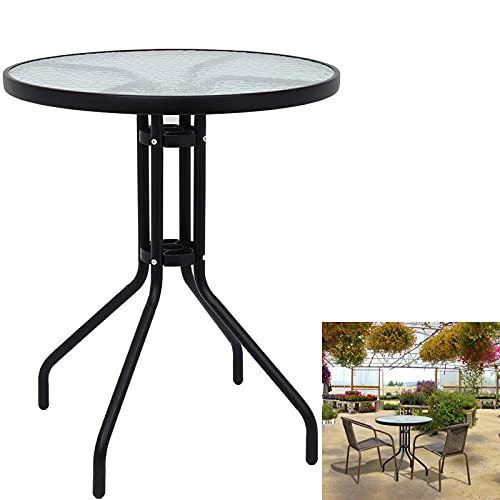 Outdoor Round Dining Table Tempered Glass Top Steel Frame Bistro Coffee End Side Table Garden