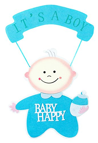 Baby Shower Party Dekoration - Wandbild It´s a boy - 56 x 32 cm Blau - Türdeko Wandschmuck Feier Geburt Junge