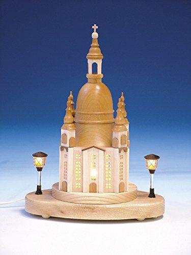 Rudolphs schatkist sokkel vrouwenkerk met binnenverlichting, natuur - verlichte lantaarns - elektrische verlichting - hout - hoogte 20 cm - Ertsgebergte - Seiffen