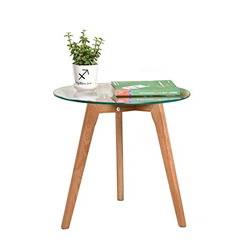 Table HAIZHEN - Station de Travail en Verre trempé - Moderne - Minimaliste - Rond - Petit Appartement - Café - Salon, 395 * 350MM