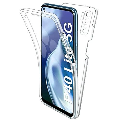 TBOC Hülle kompatibel mit Huawei P40 Lite 5G -Huawei Nova 7 SE [6.5 Zoll] Cover [Transparent] Komplett [Silikon TPU] Full Body [360 Grad] Schutzhülle Vorder Hinten Seite Ultra Dünn Handy