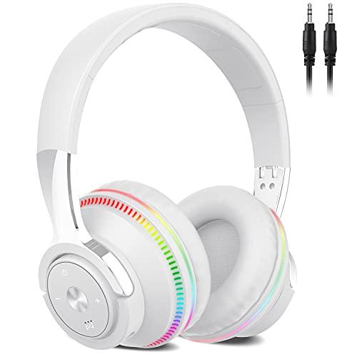 Auriculares Inalámbricos Bluetooth, 60Hrs Cascos Inalambricos Diadema Plegables HiFi Cerrados Auriculares con Microfono/Luces de Colores, Soporte Micro SD/FM Reproducir, Control de Botones(Blanco)