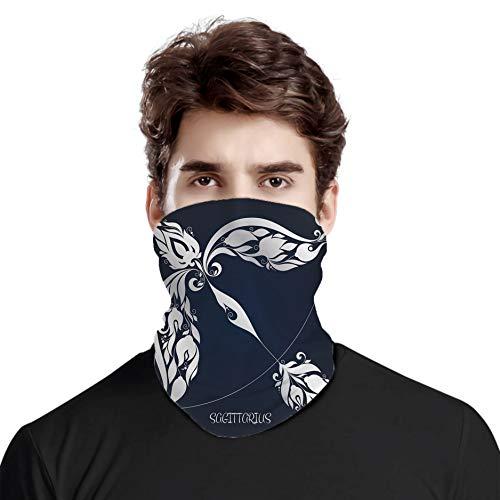 Gran cara cubierta bufanda protección cuello, signo de astrología Sagitario con imágenes de flores Impactos planetarios en la naturaleza, variedad bufanda de cabeza unisex
