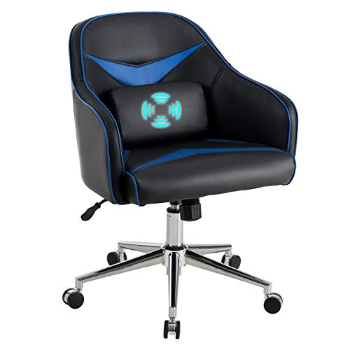 Giantex Mid-Back Armchair, Adjustable Height PU Leather Gaming Chair w/Massage Lumbar Pillow, Rolling Swivel Desk Chairs for Office Home Game Room (Blue & Black) black chair gaming