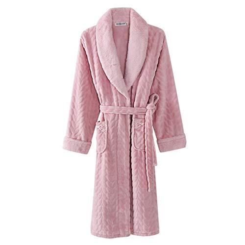Pijamas Bata De Invierno para Mujer Manga Larga Media Larga Albornoces Franela Ropa para Dormir En Casa,Pink-XXL
