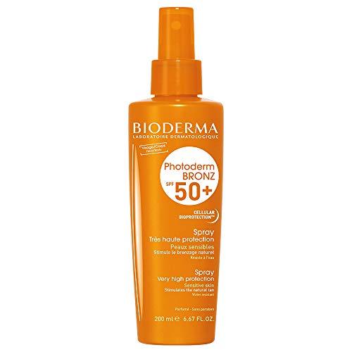 PHOTODERM BRONZ Spray SPF 50+ 200ml  Protection optimale UVA-UVB – Stimule le bronzage   Peaux sensibles ou intolérantes à tous les types d'ensoleillement