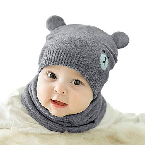 DORRISO Linda Bebe Pequeña Oso Gorro con Bufanda Otoño Invierno Primavera Calentar Sombrero de Niño Adecuado para Bebé de 0-3 Años Gris