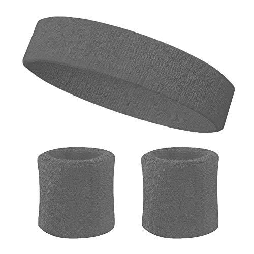 SpringPear® 1x Gris Bandeau et Bracelets en Coton de pour Exercices Sportifs Transport de l'humidité Bandeau Absorbant la Transpiration