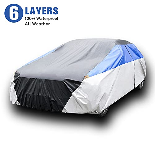 KAMCHAU 6 Layers Waterproof Car Cover,All Weather for Automobiles UV Protection Snowproof Outdoor...