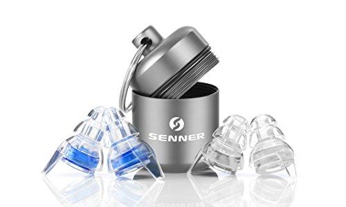 Tapones protectors de oído Senner Music Pro con caja de aluminio. Ideal para conciertos, discotecas y festivals, claros/transparentes