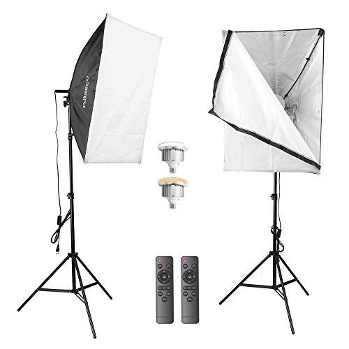Softbox Kit LED Iluminación Fotográfica, 2 Softbox 50x70 cm, 2 Bombillas LED, 2 Control Remoto, 2 Soporte y 1 Bolsa de Transporte, Luz Continua para Fotografía y Vídeo