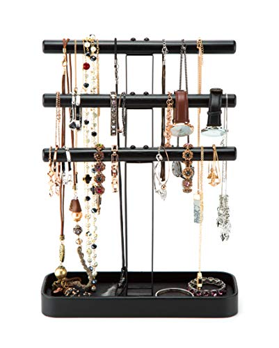 JackCubeDesign Wood 3 Tier Jewelry Display Stand Tree Organizer Bracelet Necklace Holder Rack Hanger Tower with Leather Earring Ring Tray Storage Tabletop(Black, 12 x 4.5 x 15.8 inches) – :MK413A