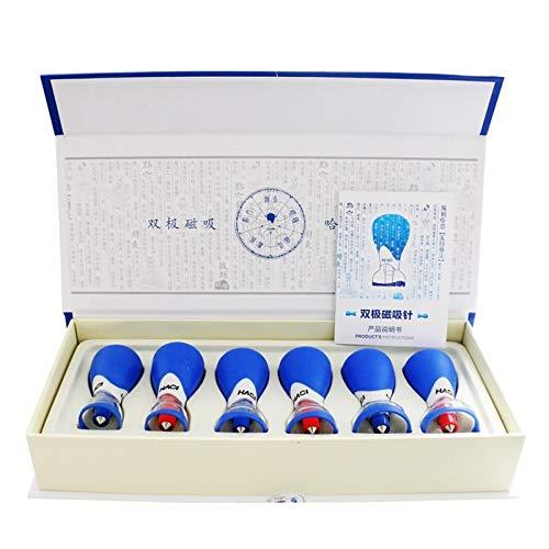 6 piezas 5 elementos aguja bipolar fuerte magnético al vacío acupuntura Cupping Set succión ventosa Set terapia magnética