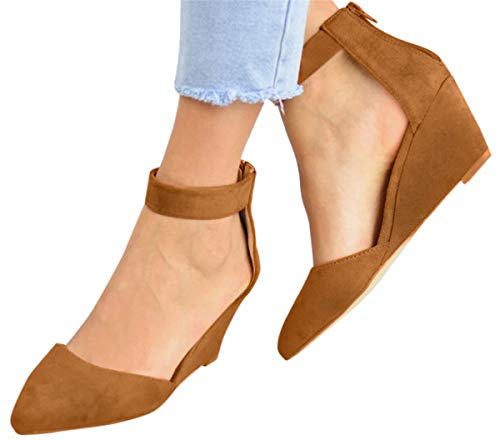 Ankle Strap Sandals Shoes Women Office Sandals Formal Dress Shoes Ziiper Pointed Toe Wedges Sandals by Gyouanime Brown
