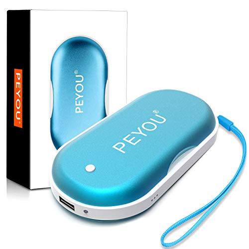 PEYOU Calentador de Manos USB, [Iluminación Led] Calienta Manos Recargable, 5200mAh Banco de Energía Portátil, Calentador de Bolsillo para Mujeres - Regalo para Familia, Amigos