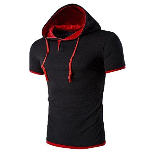 OVERDOSE Herren Sommer Hoodie Bluse Mode Kapuzen V-Ausschnitt Pullover Herren Kurzarm Sports T-Shirt Slim Fit Hemd Oberteile Tank Tops (M, Rot1)