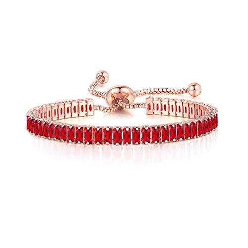 Soolike Regalo De Cumpleaños del Día De San Valentín Cuentas Redondas De Metal Pulsera Ajustable De Cadena De Circón Cuadrado, Pulsera De Encanto Regalo De Joyería De Moda para Mujeres - Rojo