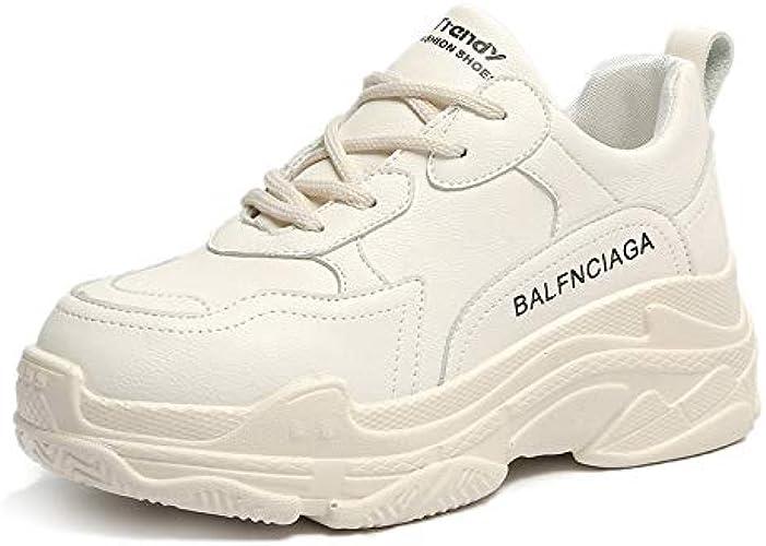HOESCZS Talons Hauts Printemps Nouveau Chaussures De Sport De Mode étudiantes Cravate Voyage Running Chaussures Blanches Casual Plateforme Chaussures De Sport