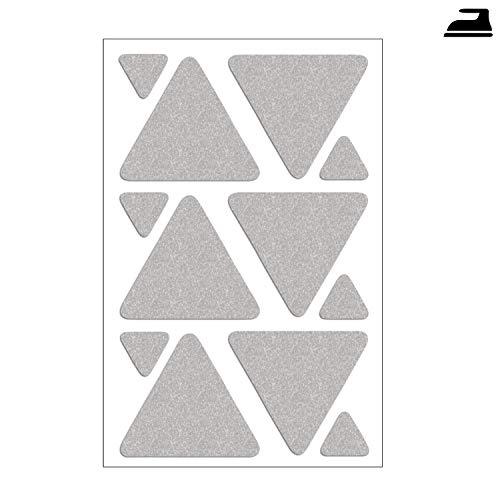 Folius 12- teiliges Reflektor-Set, Dreiecke zum Aufbügeln, reflektierende Dreiecke zum Bügeln, Reflektoren für Kleidung