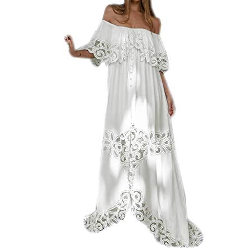 Damen Kleider Sommer Schulterfrei Spitze Halbe Ärmel Weste Sexy Strandkleid Jeanskleid Kleid Große Größe Kleid Polyester Bedruckt Elegante Maxikleider (EU:34, Weiß)