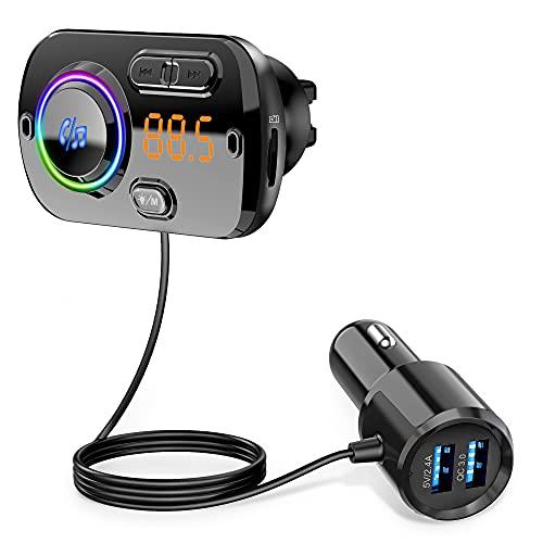 Transmisor FM Bluetooth 5.0, Musica Coche Bluetooth,Coche Manos Libres Reproductor MP3 Coche Carga Rapida QC3.0, 5V/2.4A Inalámbrico Kit de Coche Soporte Tarjeta TF, AUX, SIRI/Google, 7 Colores Luz