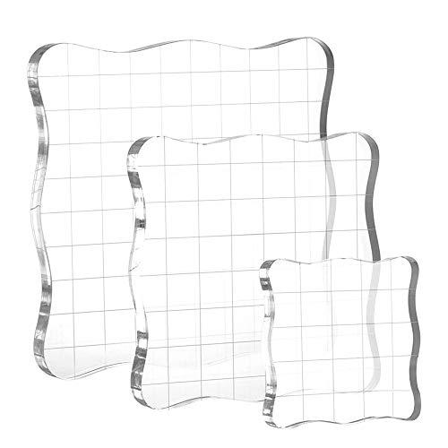 Bluelves Kesote 3 Stück Stempelblock Set Acrylblock mit Gitter für Scrapbook Fotoalbum, Transparent