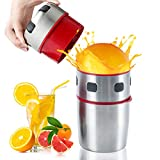 MIGECON Hand Juicer Manual Orange Juicer Cirtus Press Juicer Portable Stainless Steel Lid Rotation Squeezer with Filter, Manual Juice Press for Lemon Citrus Grapefruit Lime Orange Squeezer.
