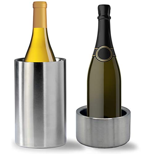 Tiger Chef Wine Bottle Chiller Cooler Set Double Wall Stainless Steel Wine Cooler and Coaster Keep Wine at Perfect Temperature
