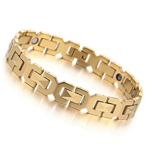 MunkiMix 3000g Magnet Kugel Perle Perlen Wolframcarbid Wolfram Armband Link Handgelenk Hematit Golden Ton Rechteckig Herren
