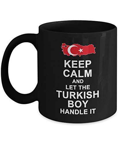 N\A Taza de café turca - mantén la Calma y Deja Que el Chico Turco lo maneje Divertidas Tazas de cerámica - Regalo de cumpleaños Taza de té Negro