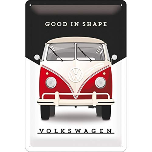 Nostalgic-Art Cartel de Chapa Retro VW – Bulli T1 – Good in Shape – Idea de Regalo de Furgoneta Volkswagen, metálico, Diseño Vintage, 20 x 30 cm