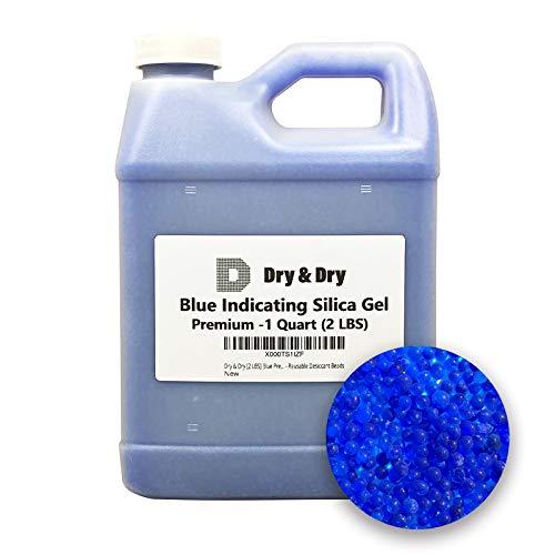 1 Quart Premium Blue Indicating Silica Gel Beads(Industry Standard 2-4 mm) - 2 LBS Reusable