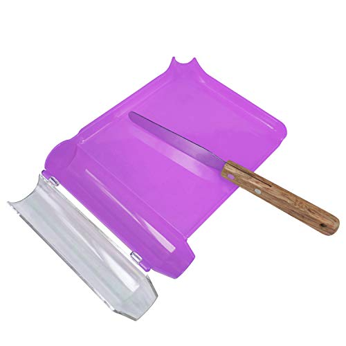 Right Hand Pill Counting Tray with Spatula (Purple - Wood Handle)