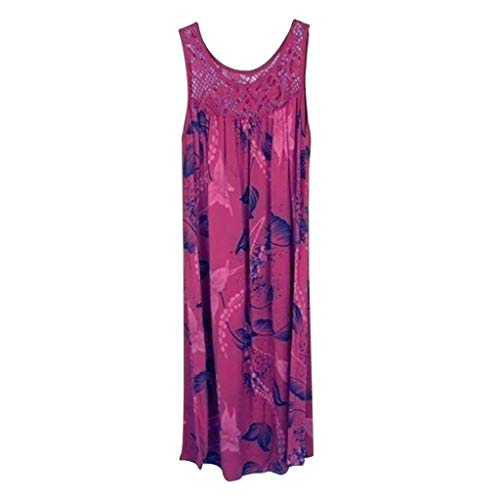 Great Price! Women's Vintage Tank Dress WYTong Leaves Printed Mini Dress Lace Stitching Sleeveless S...