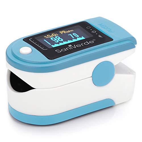 SaniVerde® PulsOximeter mit 360° LED Anzeige in 5 Farben - Finger Oximeter, Pulsoxymeter, Messgerät für Sauerstoffsättigung und Puls mit Tasche (Sky Blue)