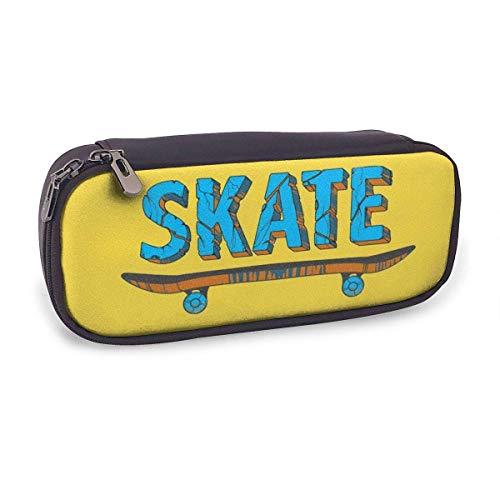Coole Skateboard Leder Schreibmappe Benutzerdefinierte Doppel-Reißverschluss-Federbeutel Durable Office School Stationery Mehrzweck-Buggy Tasche Make-up-Beutel